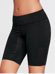 Elastic Waist Sports Shorts with Pocket