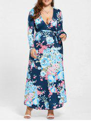 Long Sleeve Plus Size Floral Long Dress