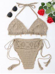 Halter Crochet Tied Bikini Set