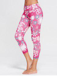 Sunflower Print Crop Running Tights - TUTTI FRUTTI M