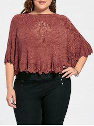 Feather Pattern Scalloped Plus Size Poncho Sweater - BRICK-RED