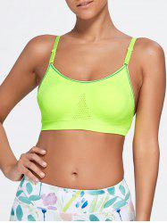 Adjustable Comfortable Sports Padded Bra - FLUORESCENT YELLOW S