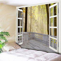 Wall Hanging Window Forest Printed Tapestry