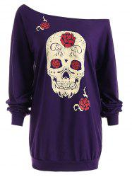 Floral Skull Print Plus Size Top