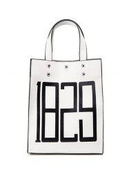 Figure Print Studded Tote Bag