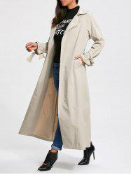 Belted Maxi Wrap Trench Coat - OFF-WHITE