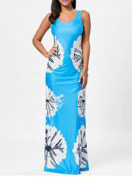 Floor Length Slit Tie Dye Tank Dress - BLUE