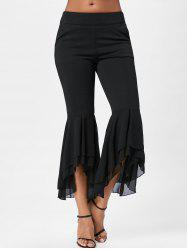 Tier Flounce Chiffon Flare Pants - BLACK