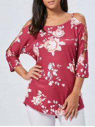 Cold Shoulder Floral Cut Out T-shirt -