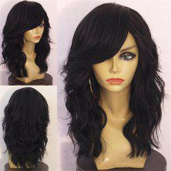Long Side Bang Fluffy Layered Natural Wavy Synthetic Wig - BLACK