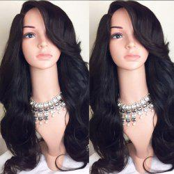 Deep Side Part Long Wavy Synthetic Wig - BLACK