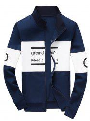 Zip Up Graphic Jacket - BLUE 3XL