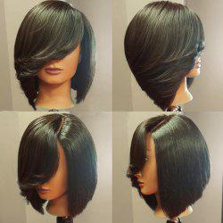 Deep Side Upward Part Short Straight Inverted Bob Synthetic Wig - BLACK