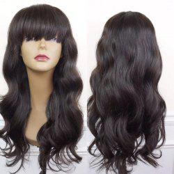 Long Neat Bang Body Wave Synthetic Wig - BLACK AND BROWN