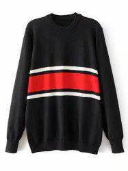 Crew Neck Striped Jumper Sweater - BLACK M