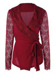 Plunging Neck Long Sleeve Lace Panel Wrap Top - RED M