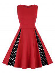 High Waist Polka Dot A Line Dress