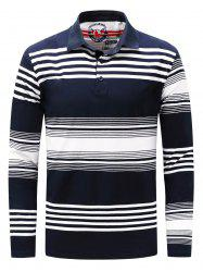Polo Collar Long Sleeve Stripe T-shirt - BLUE AND WHITE M