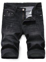 Scratched Zip Fly Denim Shorts - BLACK GREY 36