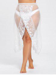Plus Size Split Mesh Sheer Beach Skirt