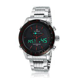 NAVIFORCE 9024 Tachymètre Luminous Quartz Digital Watch - Rouge