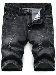 Distressed Zip Fly Denim Shorts - BLACK GREY 36