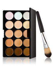 15 Colours Cream Concealer Palette with Foundation Brush