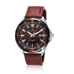NAVIFORCE 9056 Faux Leather Strap Luminous Date Watch