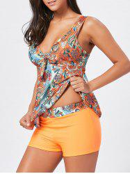 Low Cut Aztec Print Tankini Swimwear -