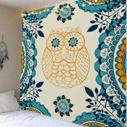 Home Decor Owl Leaves Printed Wall Tapestry