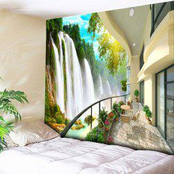 Wall Art Balcony Waterfall Print Tapestry - Multicolore Largeur 59pouces*Longeur 51pouces