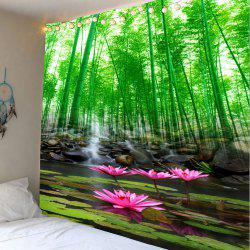 Bambou Grove Lotus Pond Wall Art Tapestry - Vert