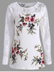 Lace Panel Floral Print Plus Size Top - WHITE