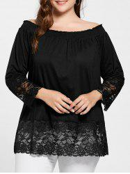 Lace Trim Off The Shoulder Plus Size Top - Noir XL
