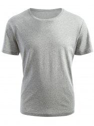 Ribbed Collar Short Sleeve T-shirt -