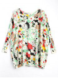 Plus Size Splash Painting Knitted Tunic Sweater