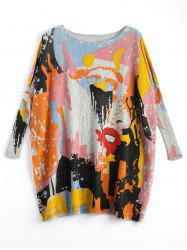 Funny Graphic Plus Size Long Sweater -