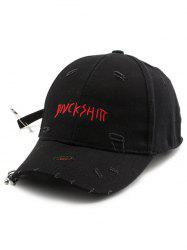 Safety Pin Circle Letters Broken Hole Baseball Hat - BLACK