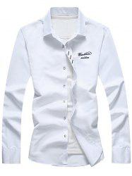 Long Sleeve Button Down Embroidery Shirt - WHITE 5XL