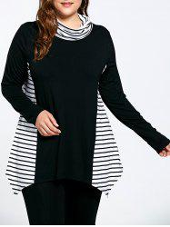 Asymmetric Plus Size Stripe Panel Turtleneck T-shirt