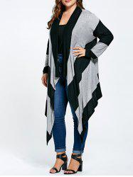 Long Plus Size Asymmetric Striped Cardigan - BLACK AND GRAY