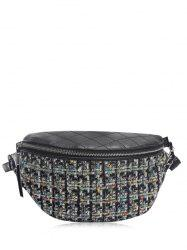 Plaid Pattern Quilted Chain Crossbody Bag -