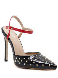 Slingback Rivets Patent Leather Pumps