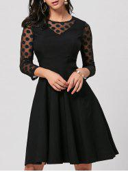 Polka Dot Mesh Insert Party Skater Dress - BLACK