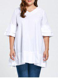 Plus Size Flare Sleeve Ruffle Top
