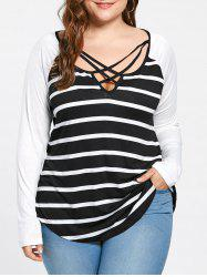 Plus Size Lattice Neck Striped Tee - BLACK WHITE XL