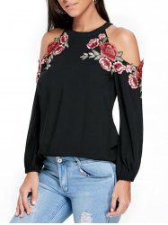 Applique Embroidery Open Shoulder Top - BLACK