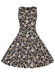 Vintage Plus Size Print High Waist Dress