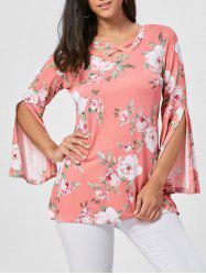 Floral Split Flare Sleeve Tunic Top - ORANGE PINK XL