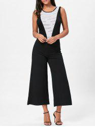 Wide Leg Sleeveless Two Tone Jumpsuit